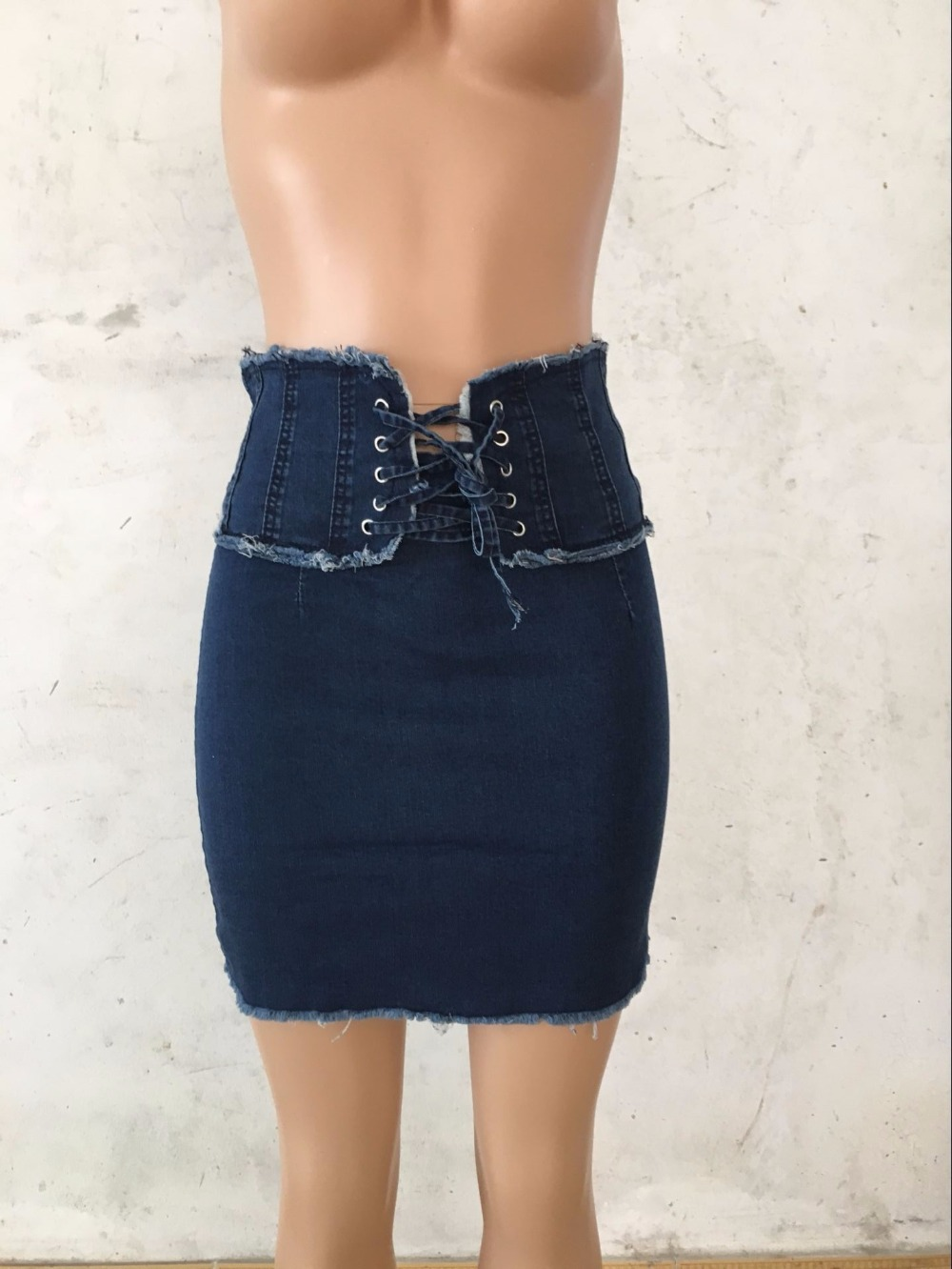 2019 New Sexy Bandages Women Denim Mini Skirts High Waist Lace Up Jean Summer Pencil Skirts in Skirts from Women 39 s Clothing