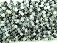 Free Ship 2strands 4 16mm Natural Rutilated Quartz Beads Round Ball Smooth White Black Rutile Quartz