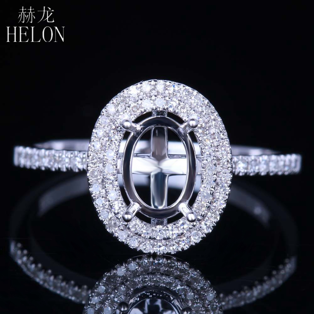 HELON Solid 14K White Gold Flawless Oval Cut 7x5mm Semi Mount Anniversary Fine Ring Pave Natural Diamond Engagement Wedding Ring цена