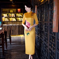 جديد ريترو طباعة اللباس شيونغسام المرأة الصينية التقليدية الافندي الياقة cheongsams ل تشيباو شرقية فساتين حجم M-3XL