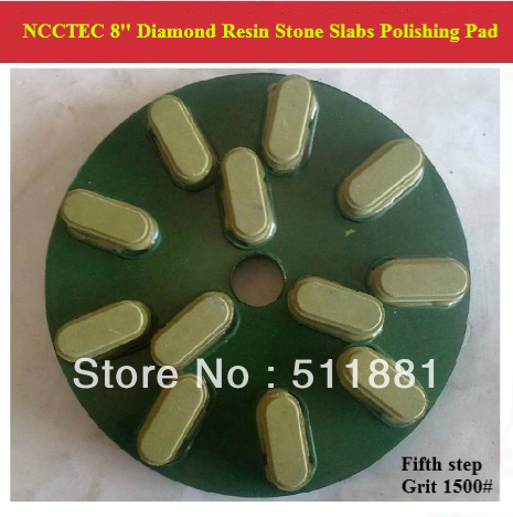 [5th step] 8'' Diamond Polishing Pads for Stone Slabs | 200mm resin marble granite Basalt slab polishing tools | 12 segments цена