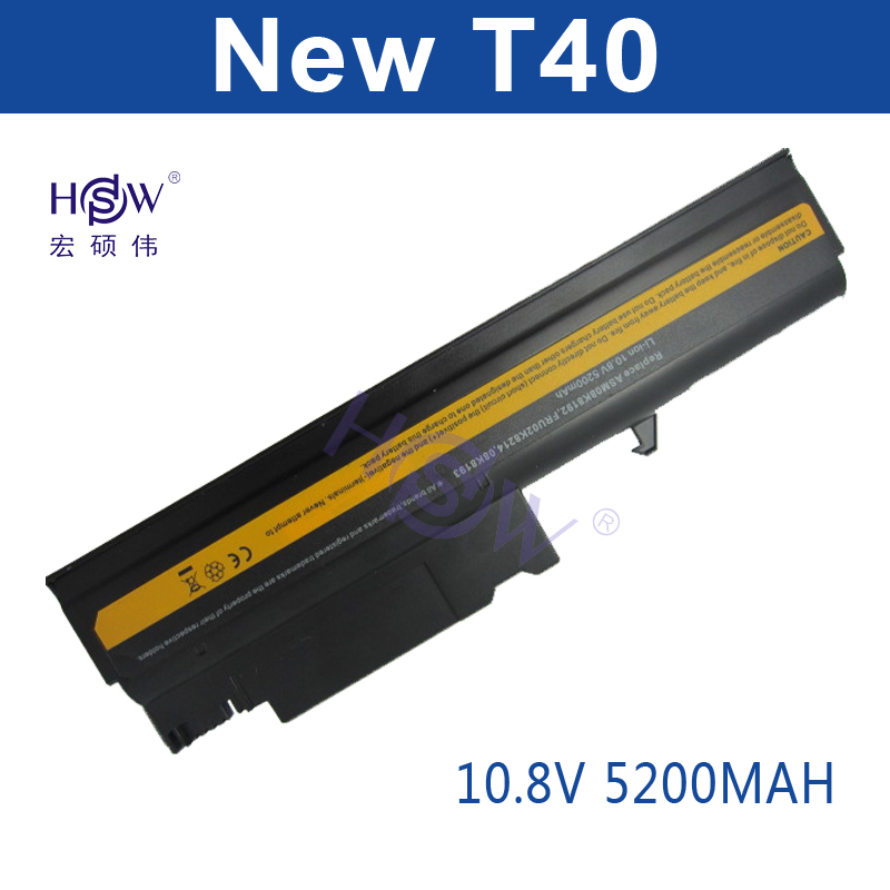 HSW 5200mAh 6 Cell Replacement Laptop Battery for IBM ThinkPad R50 R50E R50P R51 R52 T40 T40P T41 T41P T42 T42P T43 T43P Bateria kingsener 10 8v 7200mah new battery for ibm thinkpad r50 r50e r50p r51 r51p r52 r52p t40 t40p t41 t41p t42 t42p t43 t43p 42t4608
