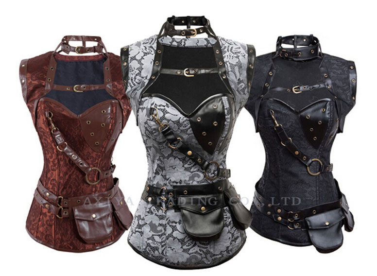 New-2015-Steampunk-Coset-Top-Retro-Gothic-Full-Steel-Boned-Brocade-Vintage-Steampunk-Bustier-Corsets-Brown
