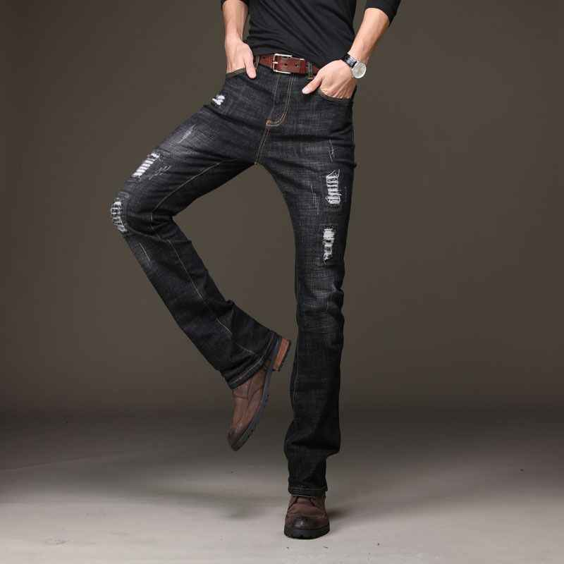 Autumn Mens Ripped Black Flare Jeans