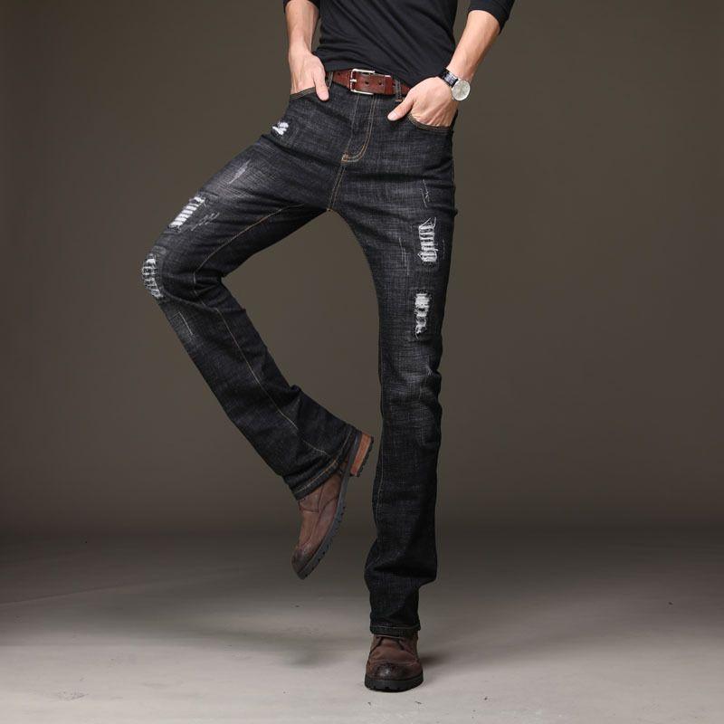 Осень Для мужчин s рваные черные расклешенные джинсы классические загрузки вырезать ногу Flared Slim fit джинсы Для мужчин Уличная клеш Жан