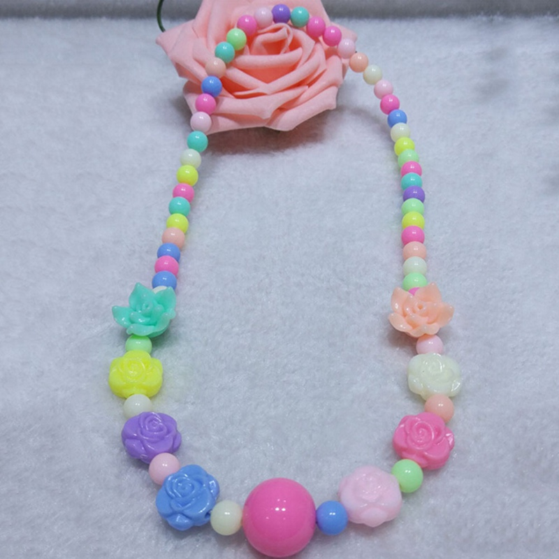 2018 New Necklace Rose Beads Pendant Candy Color Necklace Jewelry Girls Gifts Necklace