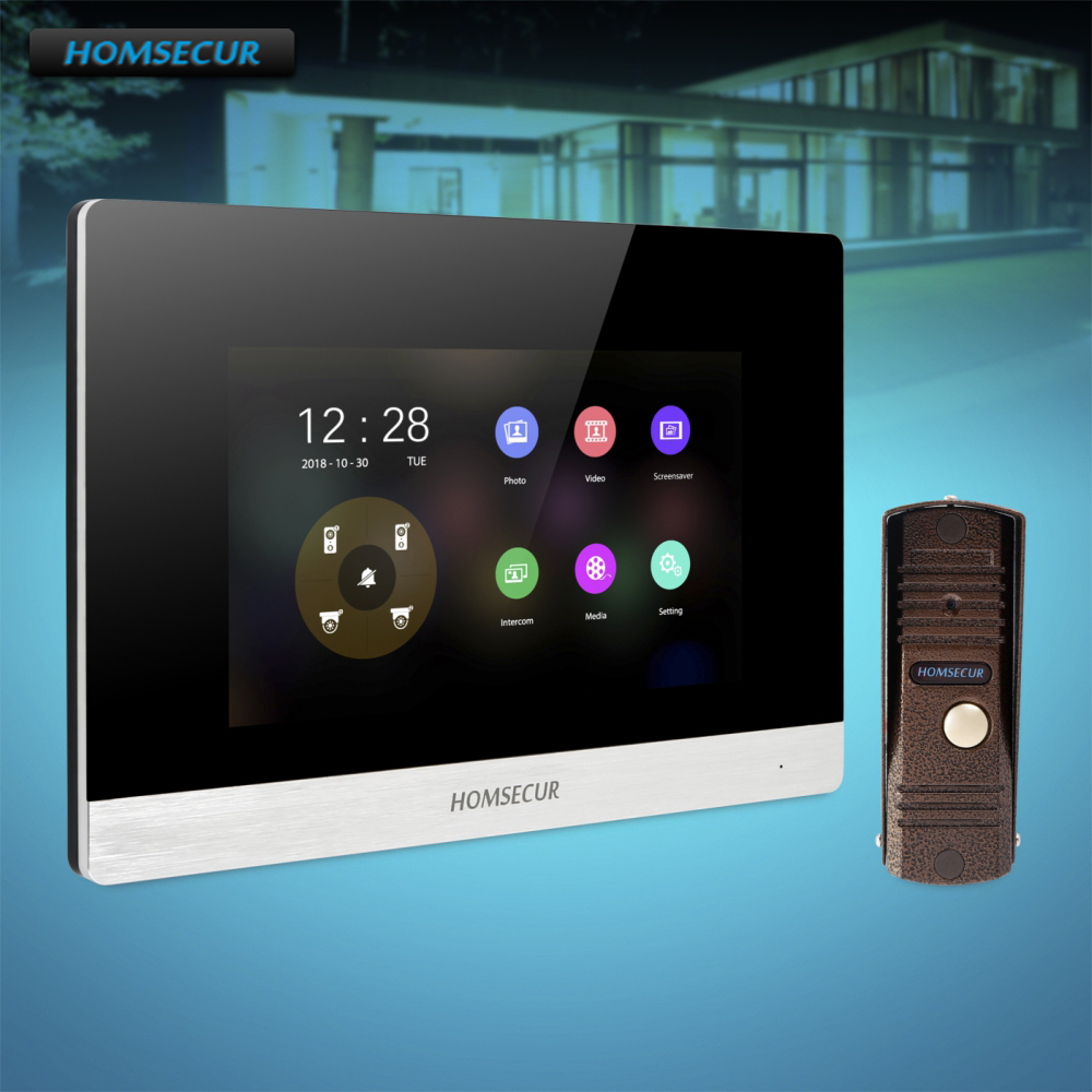 HOMSECUR 4 Wire Hands-free Video Door Phone Intercom System With Aluminium Alloy Camera BC011HD-C+BM716HD-S