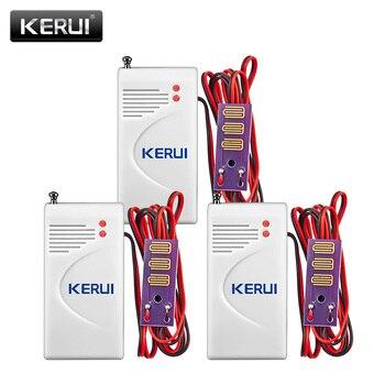 KERUI 3 unids/lote 433 Mhz inalámbrico de fugas de agua Detector de intrusión trabajo con GSM PSTN Home Security voz de alarma antirrobo inteligente sistema