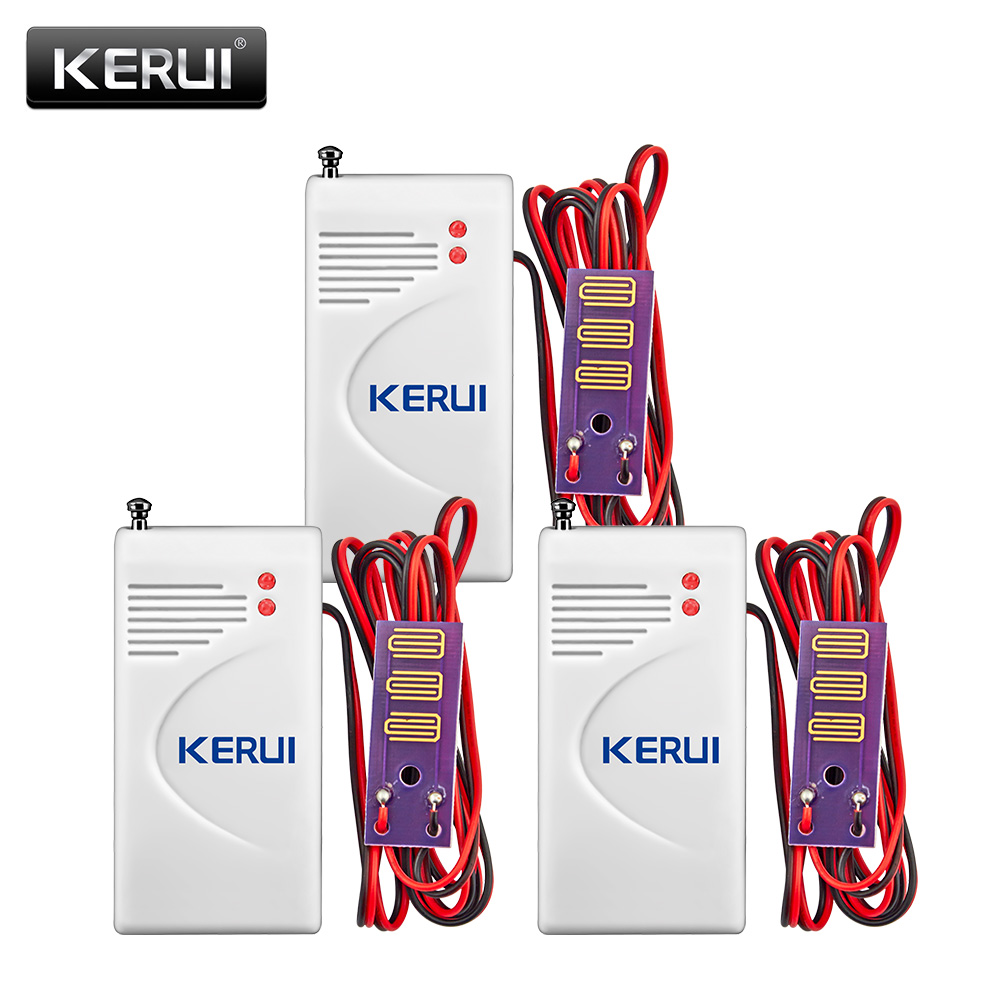 KERUI 3pcs lot 433MHz Wireless Water leak Intrusion Detector Work With GSM PSTN Home Security Voice Burglar Smart Alarm system
