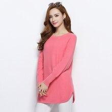 Blusas Hot Sale Pure Cashmere Pullover das mulheres senhoras Nova Moda Longos Casacos de Lã Roupas De Malha O pescoço Padrão Topos