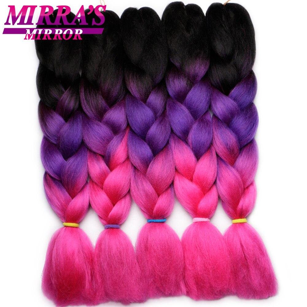 Mirra's зеркальный Омбре плетение волос крючком волосы в стиле jumbo наращивание синтетические плетеные волосы синий блонд зеленый розовый косы