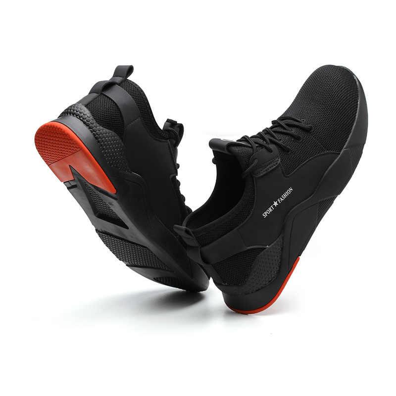 男性の屋外ファッション通気性鋼つま先抗スマッシング保護作業靴男性抗スリップパンク証拠安全靴
