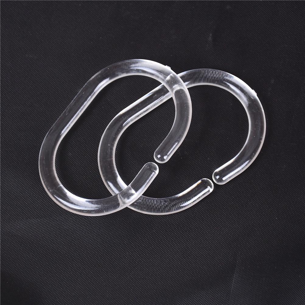 HQ 12pcs Plastic Clear C Type Bathroom Shower Curtain Liner Hook Hooks Rings