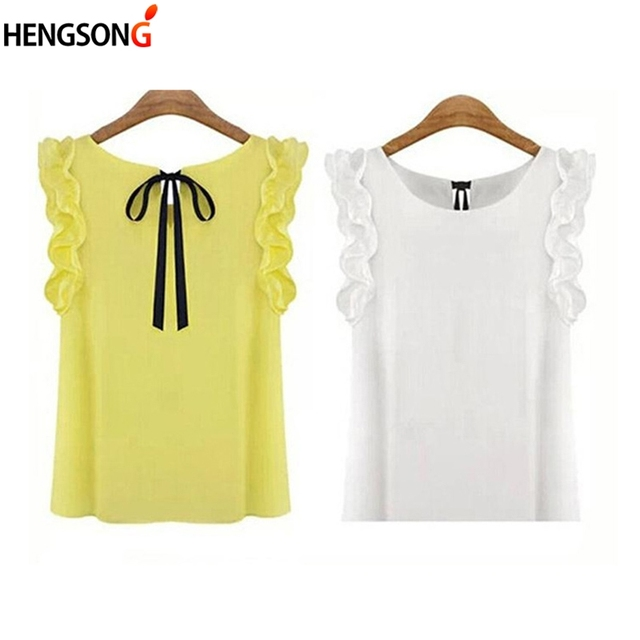 d21abb1376 Women s Blouse Summer Fashion Lotus Leaf O-Neck Casual Shirt Ladies Bow  Chiffon Blouses Tops