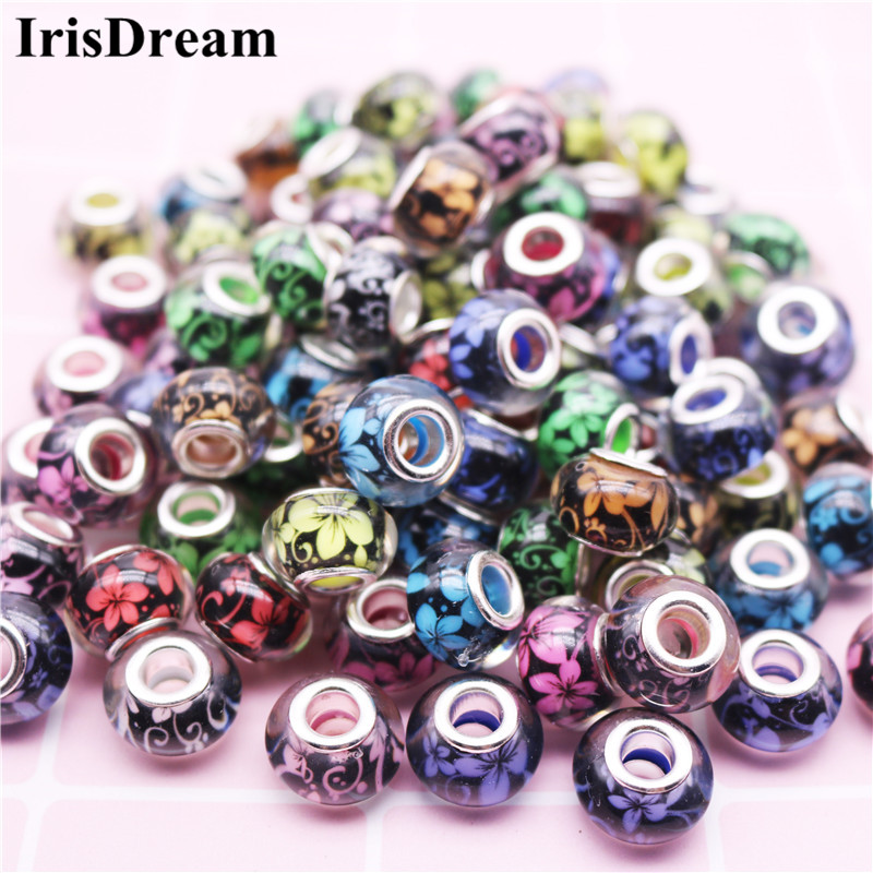 10PCS 14MM Round Loose Flower Resin Murano Glass Beads Fit For Pandora Charms Round 925 Original Bracelets Jewelry(China)