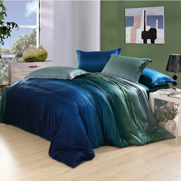free shipping turquoise sheet blue apple green gradient pattern bedding sets 4pcs with sheets. Black Bedroom Furniture Sets. Home Design Ideas