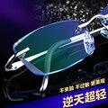 Terminou com homens óculos sem aro titanium óculos de armação de diamante corte simples cor personalizada olhos modelos femininos yj9