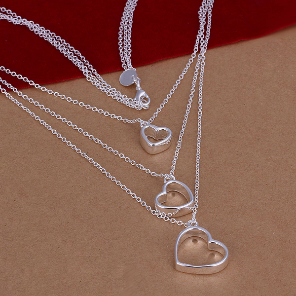 Women or girls fashion jewerly top quality Silver Plated & Stamped 925 three flat open heart Pendant chains Necklace Wholesale