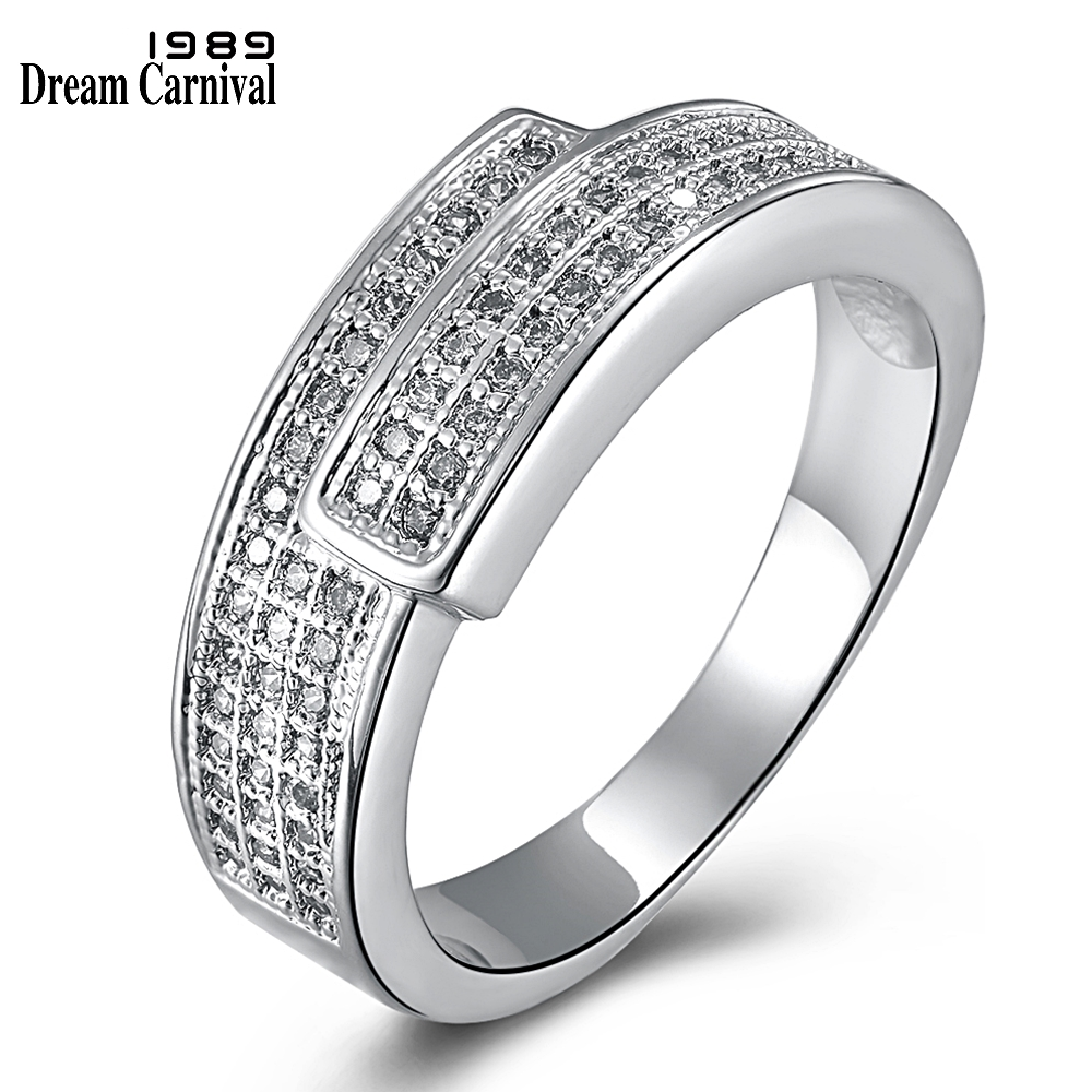 DreamCarnival 1989 Women Engagement Ring Rhodium Two Tones Gold-color New Design Zircon Aniversario Anillos Anel Jewelry YR6448 plywood
