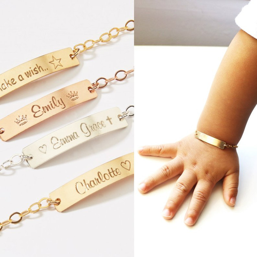 Personalized Jewelry Baby Name Bar ID Bracelet Gold Hand