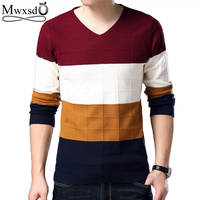 Mwxsd Brand Men S Casual Plaid V Neck Pullover Sweater Pull Homme Men Slim Fit Knitted