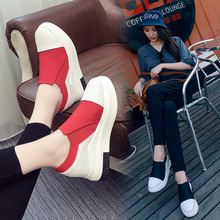 Slipony women footwear 2016 new leather height increase female women elevator casual shoes hot sale Casual Shoes Woman Height
