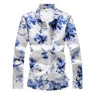 Mens Hawaiian Shirt New Slim Long Sleeve Floral Summer Camisas Hombre Shirt Mens Womens Street Print Slim Party Dating Skirt