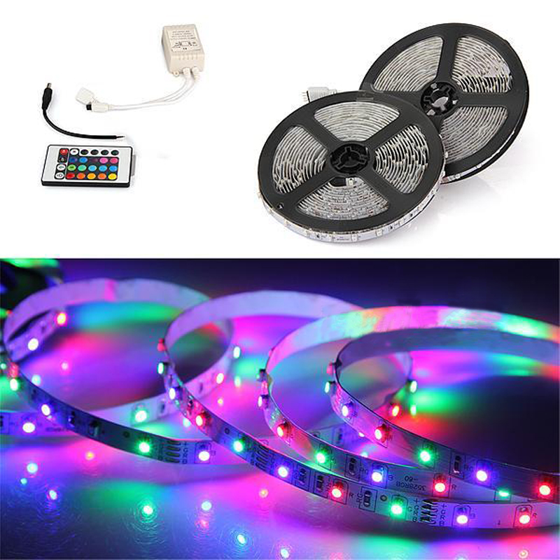 10m(2X5m) 3528 SMD 600 LED Strip Light RGB with 24 Key IR Remote Control Set ...