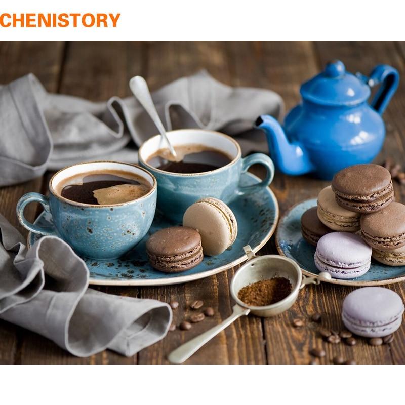 CHENISTORY Kaffee Kuchen DIY Malen Nach Zahlen Moderne Home Kunst Bild Kits Acryl Handgemaltes Ölgemälde Für Geschenk 40x50