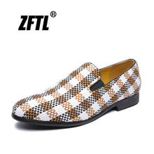 ZFTL New Men Loafers Japanese plaid shoes Summer peas slip-on casual British style light breathable male loafers 092