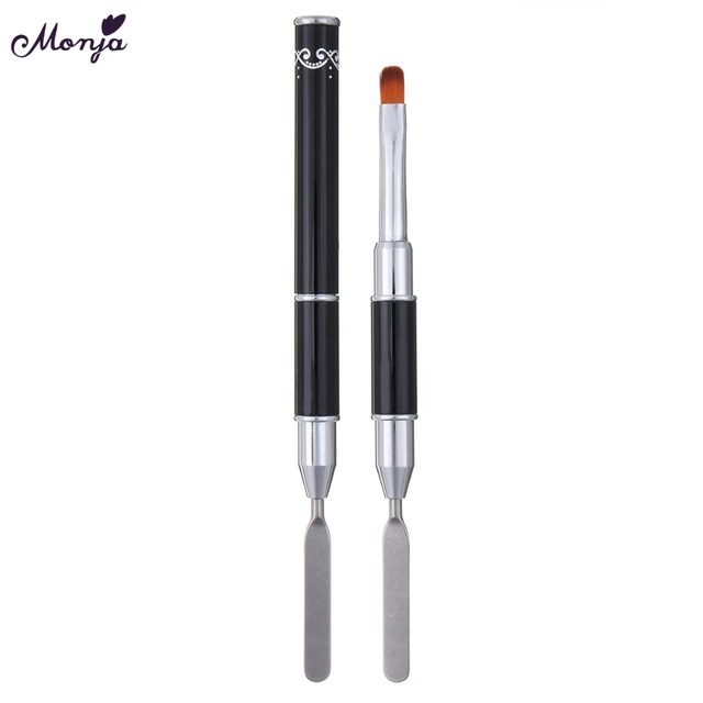 Monja Dual Head Nail Art Acrylic UV Poly GEL Extension Builder Drawing Pen Brush Poly Gel Removal Spatula Stick Manicure Tool 3