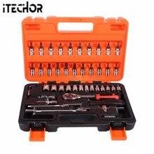 Фотография iTECHOR 46Pcs Auto Repair Hardware Tool Kit Car Repair Maintenance  hand Tool Set with Storage Box - Silver