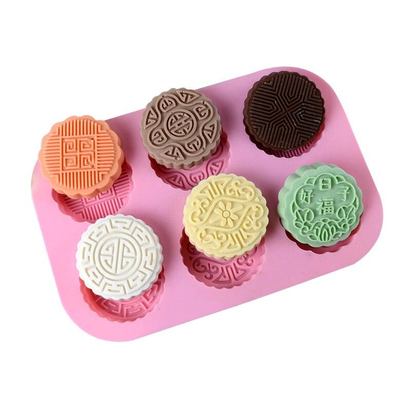 Silicone Soap Mold 6-Cavity Moon Cake Shape Chocolate Candy Molds Cake Baking Mould DIY Handmade Craft