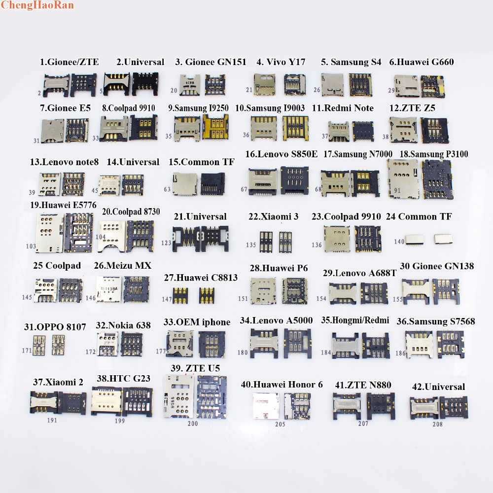 ChengHaoRan лоток для чтения sim-карт для samsung S4 I9250 I9003 huawei G660 Coolpad 9910 Note 8 S850 Gionee E5 zte Z5 ViVo Y17