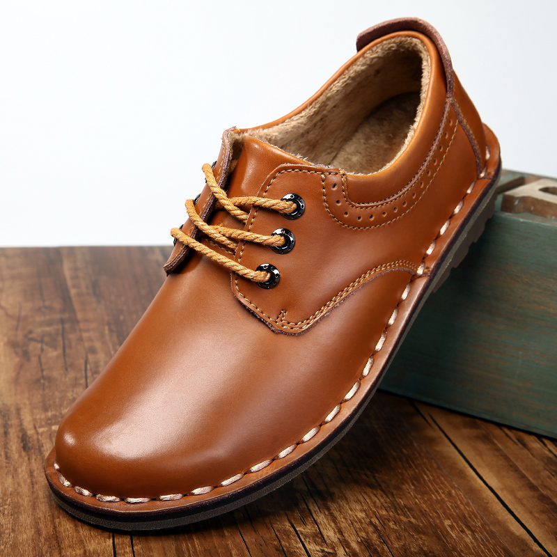 Comfortable Office Fashion Men's Shoes Casual Moccasins Genuine Leather Flat Shoes Lace Up Oxford Work Shoes Men Dress Shoes C4