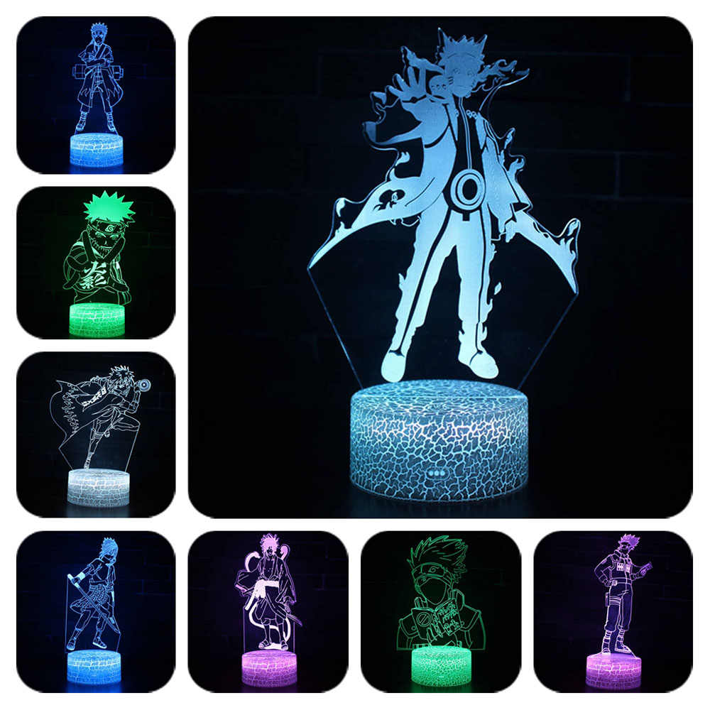 NARUTO 7 Colors Changing Table Projection Lamp USB cartoon uzumaki naruto sasu kekakash light up Led Action Figure Luminous toys