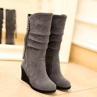Winter Snow Boots Platform Wedge Heel Women Formal Work High Heels Black Mid Calf Boots With