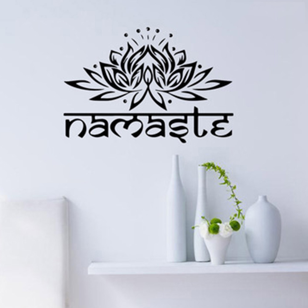 1 pc Lotus Flower Wall Decal Yoga Namaste Wall Stickers Home Decor Living Room Bedroom Yoga Studio Wall Art Vinyl Wallpaper