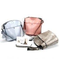 Fashion Women Messenger Bags Female Genuine Leather Handbag Tassel High Quality Shouder Crossbody Bags