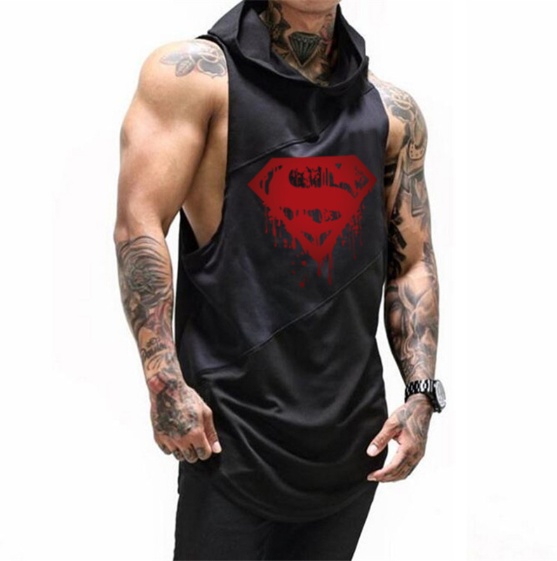 Muscle guys Brand Bodybuilding Stringer Tank Tops Hoodies Tanktops Fitness Men gyms Clothing sleeveless shirts with hoodie