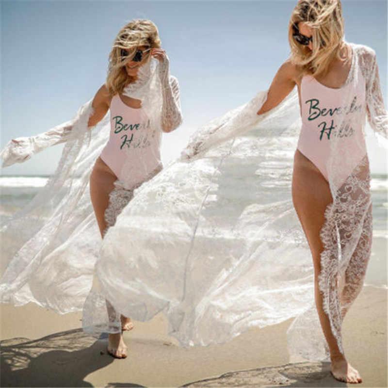 סקסי נשים תחרה רשת חלולה לילה שמלת גלימות לראות דרך ארוך מקסי תחתוני הלבשה תחתונה Babydoll הלבשת Nightwear שינה שמלה