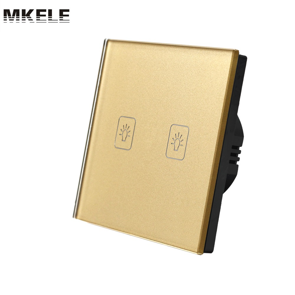 New Arrivals Touch Switch Golden EU Standard 2 Gang Way Light Screen Wall Socket For Lamp Switches Electrical