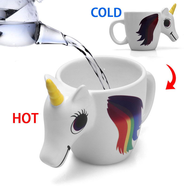 3D Unicorn Temperature Color Changing Ceramic Mug 300ML - Great Christmas Gift