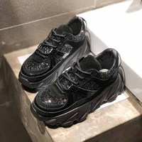 Chunky Sneakers For Women Thick Wedges Sequins Shoes Casual Platform Sport Shoes Dad Inspired Flatform Fashion Sneaker Glitter