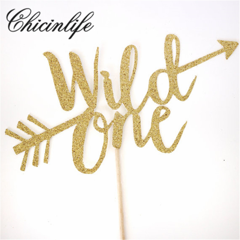 Chicinlife Gold Glitter Wild One First Happy Birthday Boy Girl Cake Cupcake Toppers Kids Party Baby Shower Decorations Supplies