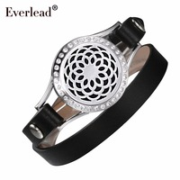 EVERLEAD Genuine Leather Wrap Bracelet CZ Cubic Zirconia Diffuser Floating Charm Locket 316L Stainless Steel Bracelets for Women