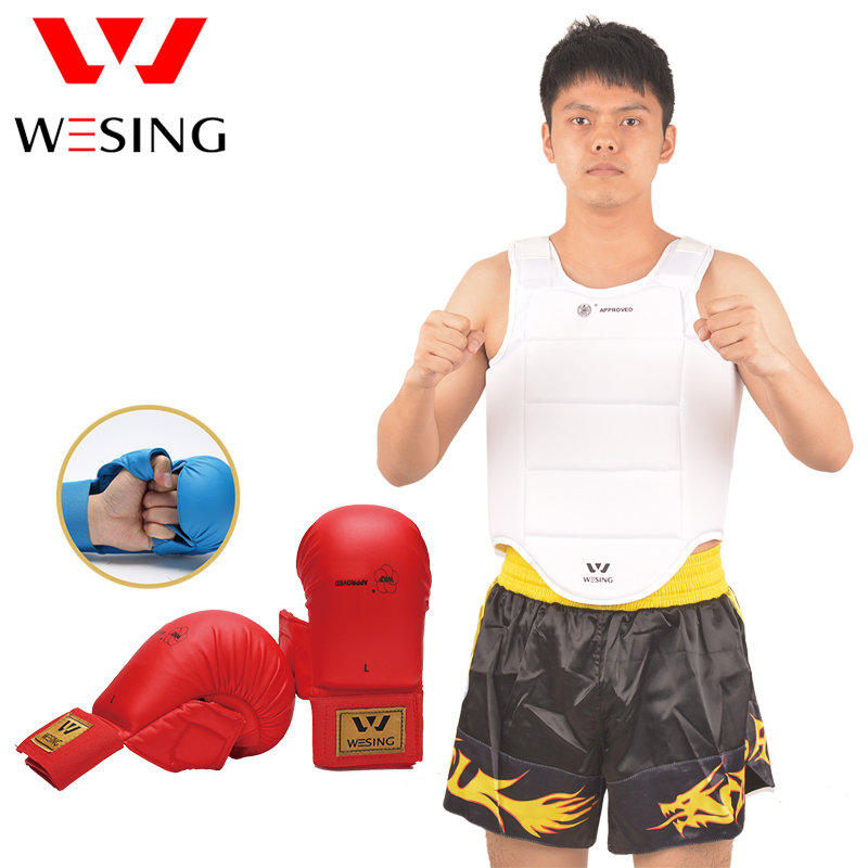 Wesing karate chest guard karate gloves karate equipment set for training and competition karate kata applications