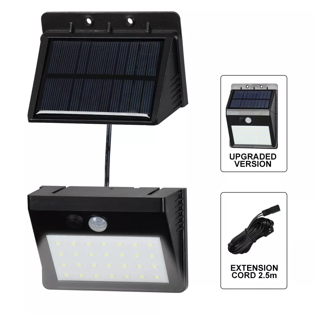 30LED Solar PIR Motion Sensor Security Lamp Separable 3 Mode Wall Light For Outdoor Garden Yard