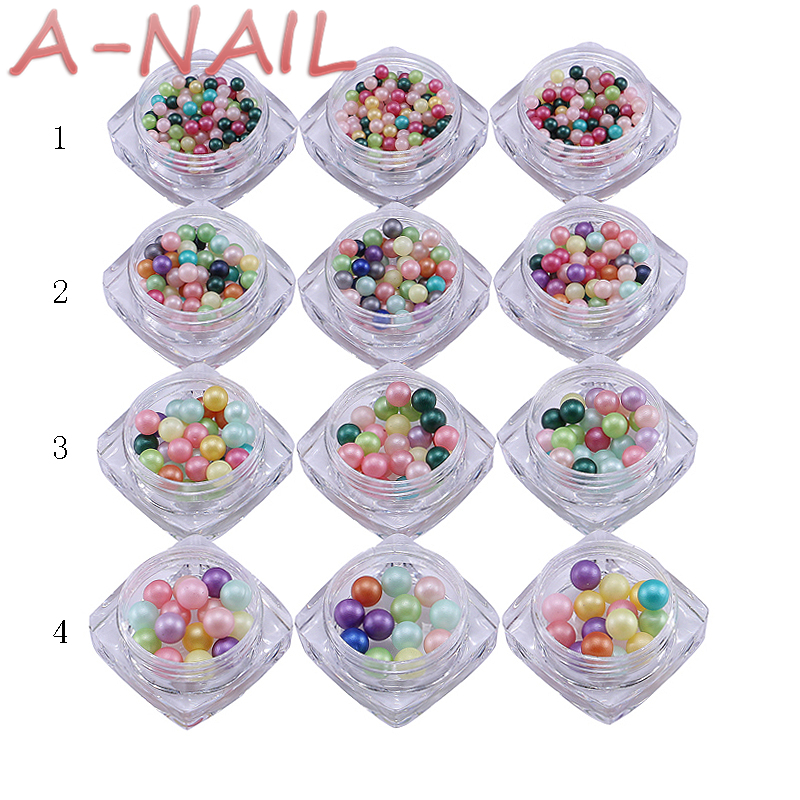 12box/set Round Ball Nail Cotton Pearl Beads  Japan New 3D Nail Art Deco Metal Pearl Stud Colorful For Nail Polish 4pcs new for ball uff bes m18mg noc80b s04g