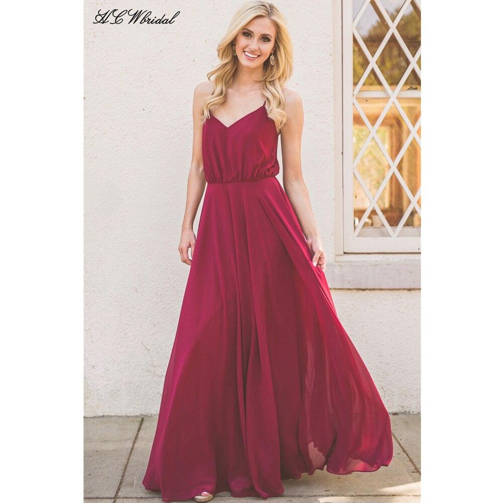 Discount Evening Gowns: Long Burgundy Evening Dress 2019 Spaghetti Strap A Line
